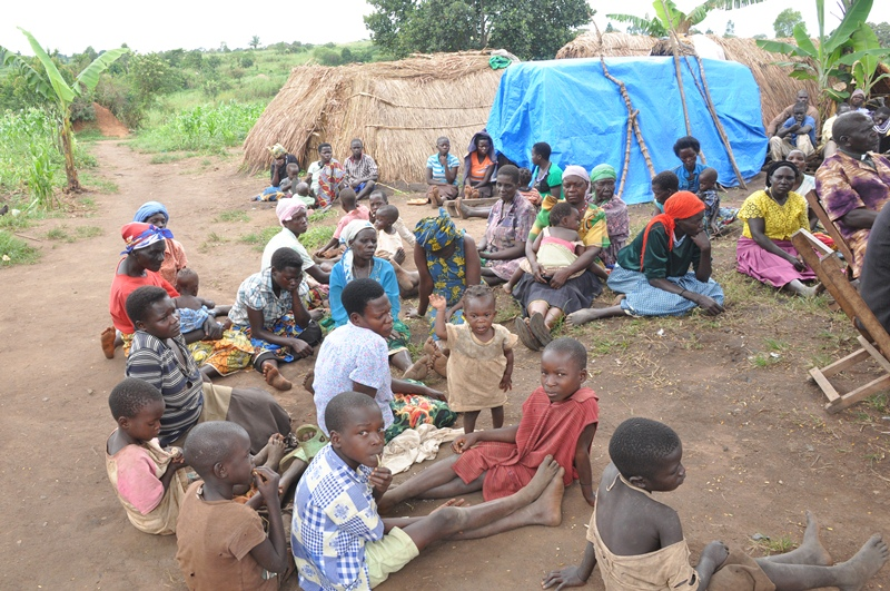 Rwamutonga residents confined in an IDP camp setting after being evicted to pave way for the oil treatment plant.