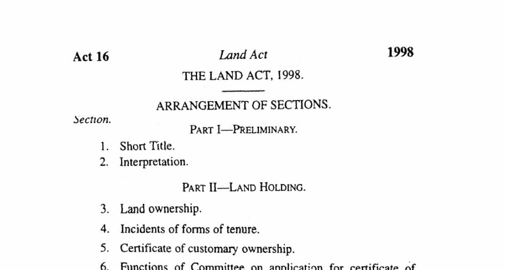 Land act 1998