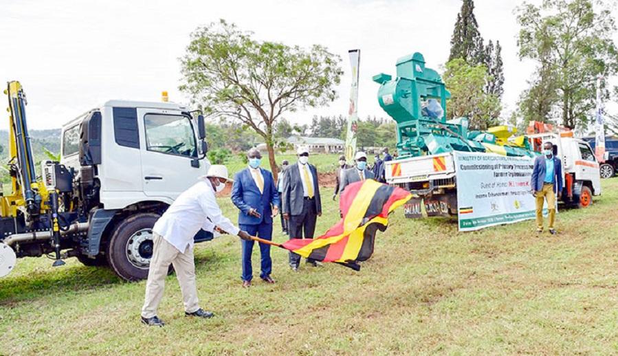 Museveni-flags-harvesting-equipment