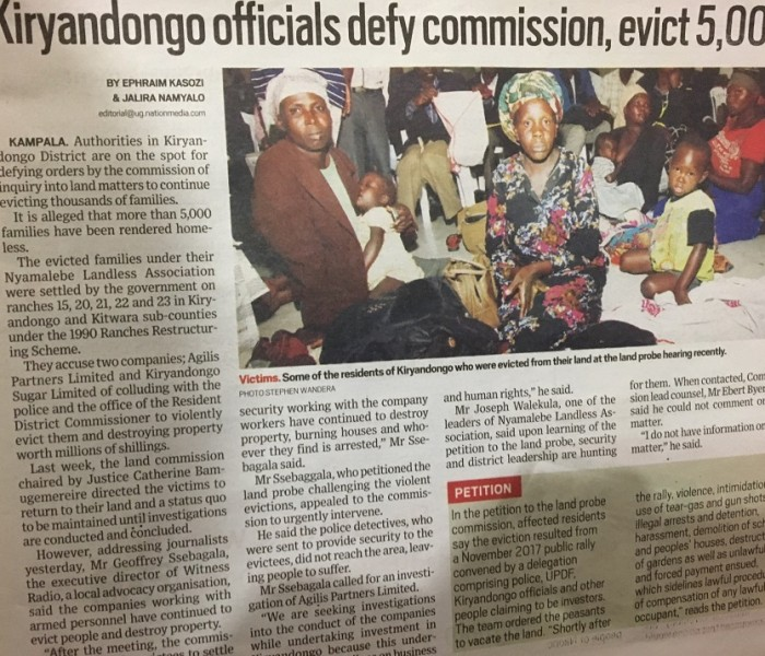 Kiryandongo District Authorities are on spot by the commission of inquiry into land matters