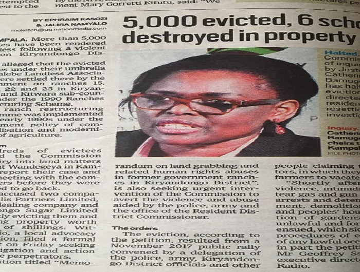Land Inquiry Commission has halted land evictions in Kiryandongo District