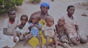 Some of the victims: Annet Nanyunja and her children